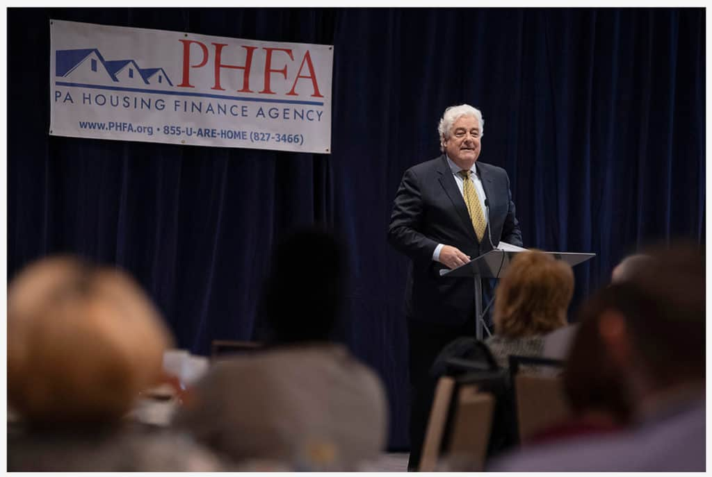 John Taylor accepting the Award of Excellence at the PHFA lunch