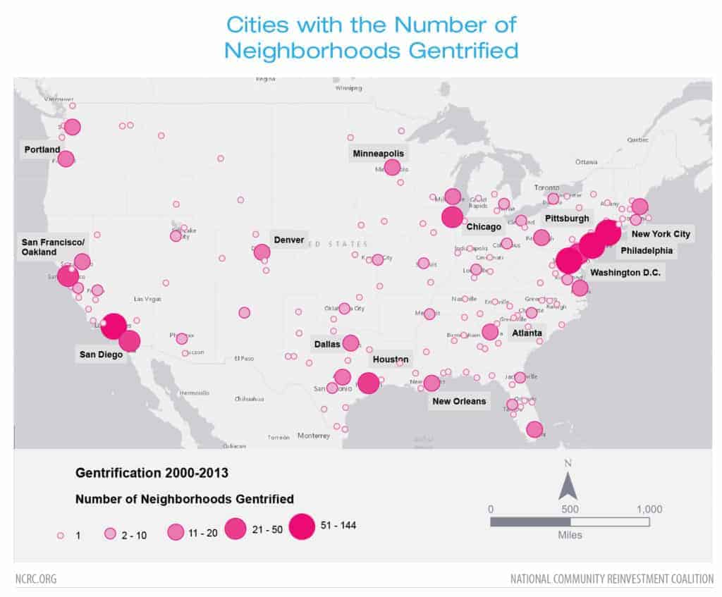 Cities with the Number of Neighborhoods Gentrified