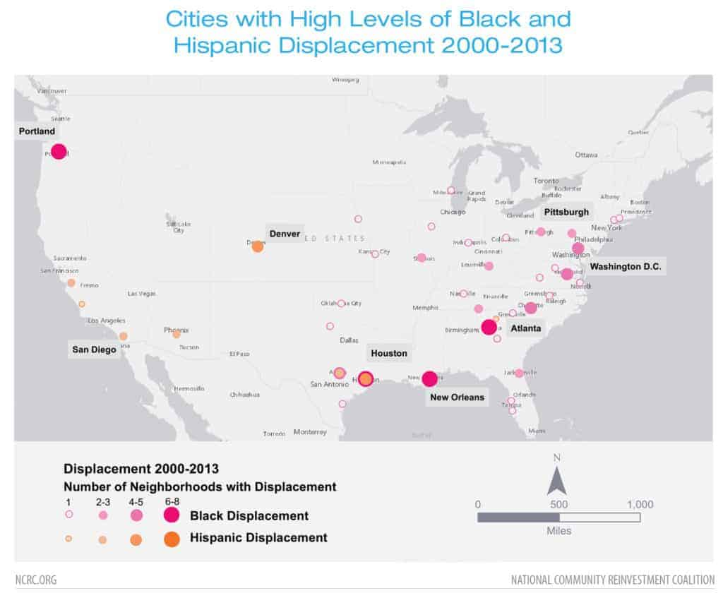 Cities with High Levels of Black and Hispanic Displacement 2000-2013