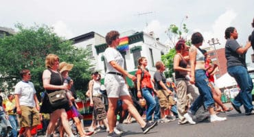 Dyke March . 17th Street nearing P Street . NW WDC . Saturday, 11 June 2005