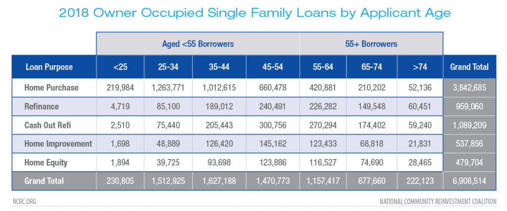 2018 Owner Occupied Single Family Loans by Applicant Age
