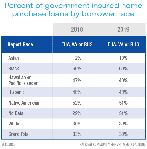 Percent of government insured home purchase loans by borrower race