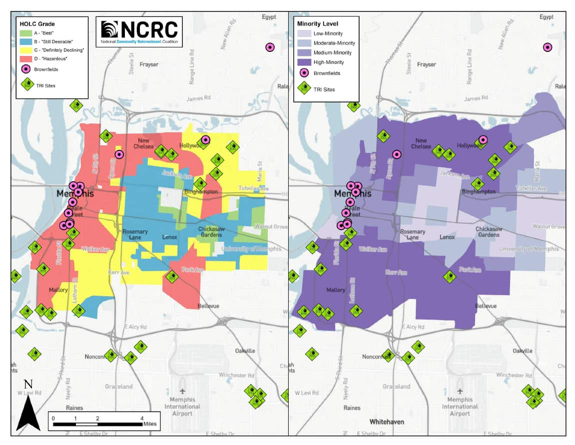 Map of Memphis and Toxic Release Inventory and Brownfield Sites